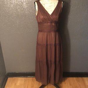 🍁 Anne Klein Sz 10 Fall 100% Silk Maxi Dress